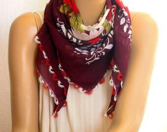 Burgundy scarf with needle lace trim, turkish oya