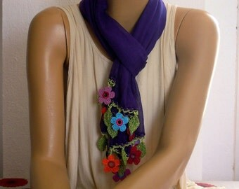 purple cotton scarf with colorful crochet flower trim