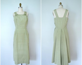 1950s mint green party tank dress // sage fitted summer dress // medium large