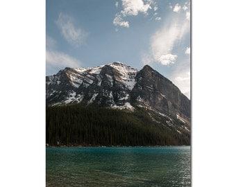 Lake House Decor, Mountain Photography, Canadian Landscape Picture, Lake Louise Alberta, Wilderness Lodge Wall Art, Blue Entrance Decoration