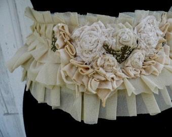 Belt, sash, victorian ,steampunk, shabby chic,flowers , ruffle sash, cream, jane austen belt, roses and romance, corpse bride, wedding,goth