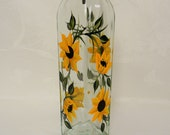 Oil decanter, hand painted oil bottle, sunflower oil bottle, kitchen decor, glass oil decanter