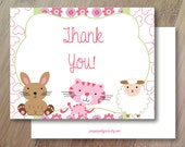 Dreams, Folded Thank You Cards, Set of 10 Professionally Printed, Bunny Thank you Cards, Sheep Thank you Cards, Spring Thank you cards