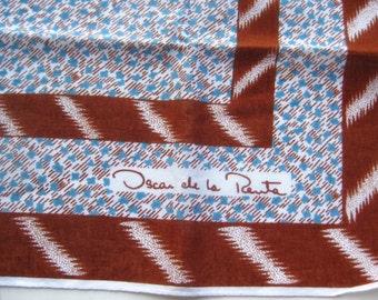 Vintage 60s Scarf Oscar de la Renta Brown & Blue Italian Neck Tie Square Scarf Accessory