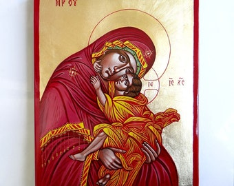 The Holy Virgin Mary with Christ child - original hand painted orthodox icon - 10 by 8 inches, MADE TO ORDER