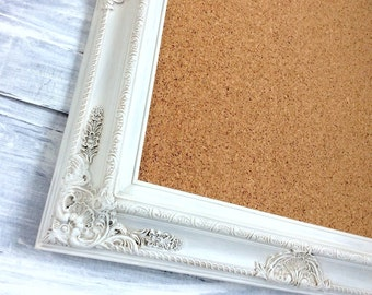 "DECORATIVE FRAMED CORKBOARD 31""x27"" Memo Board Vintage White Shabby Chic  Message Board French Country Kitchen Home Organizer Bridal Gift"