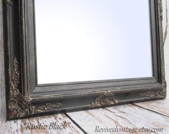 "Framed Black Mirror For Sale Baroque DECORATIVE ORNATE Rustic Black 31""x27"" Large Black Framed Vanity Mirror Bathroom Mirror"