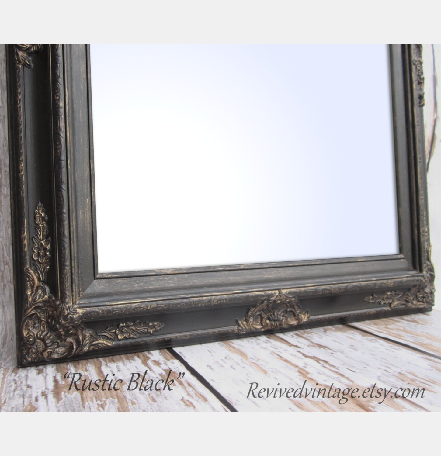 Framed black mirror for sale baroque decorative by for Fancy mirrors for sale