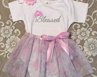 Blessed Baby Outfit, Princess Baby, Princess Outfit, Blessed Tutu, Princess Tutu, Blessed Newborn