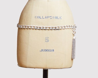 Vintage 60s 70s Silver CHAIN Belt Necklace s m