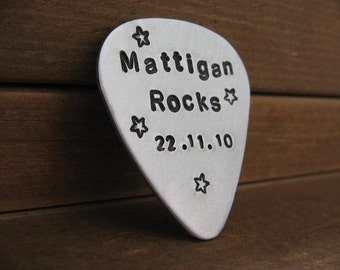 Custom Guitar Pick - Aluminum - Silver - Copper - Handstamped Guitar Pick - Personalized Guitar Pick - Custom Pick - Custom Coordinates