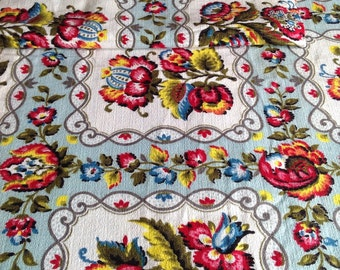 "Antique Textiles / Vintage French Fabric, Floral Cotton Barkcloth Panel. 18""x 90"" Upholstery & Furnishings/ Home Decor Projects"