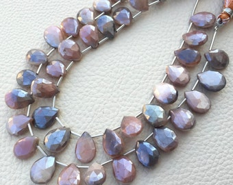 Brand New, Rare Natural Mystic Bi-Color Moonstone Faceted Pear Shape Briolettes,13-15mm size,Full 8 Inch Strand,Amazing Item.