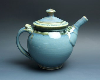 Handcrafted stoneware teapot blue tea pot 46 oz- 3519