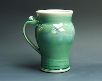 Sale - Pottery beer mug, ceramic coffee mug, stoneware tea cup jade green 16 oz 3323