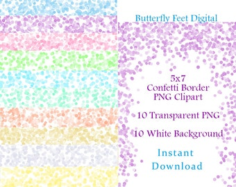 Printable Confetti Borders, Digital PNG Clip Art, Confetti Sprinkles Clipart, Photo Overlay, 5x7, Instant Download