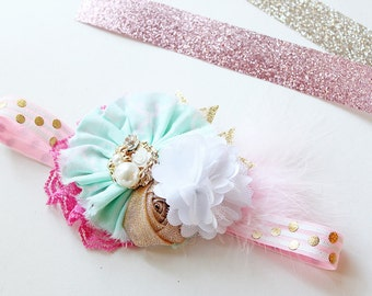 Mint for the Gold headband -- mint pink gold and white ruffle and satin bloom bow