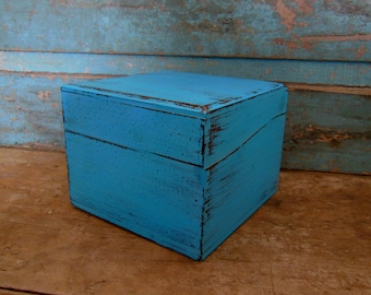 Wooden Trinket Box Painted Turquoise Distressed