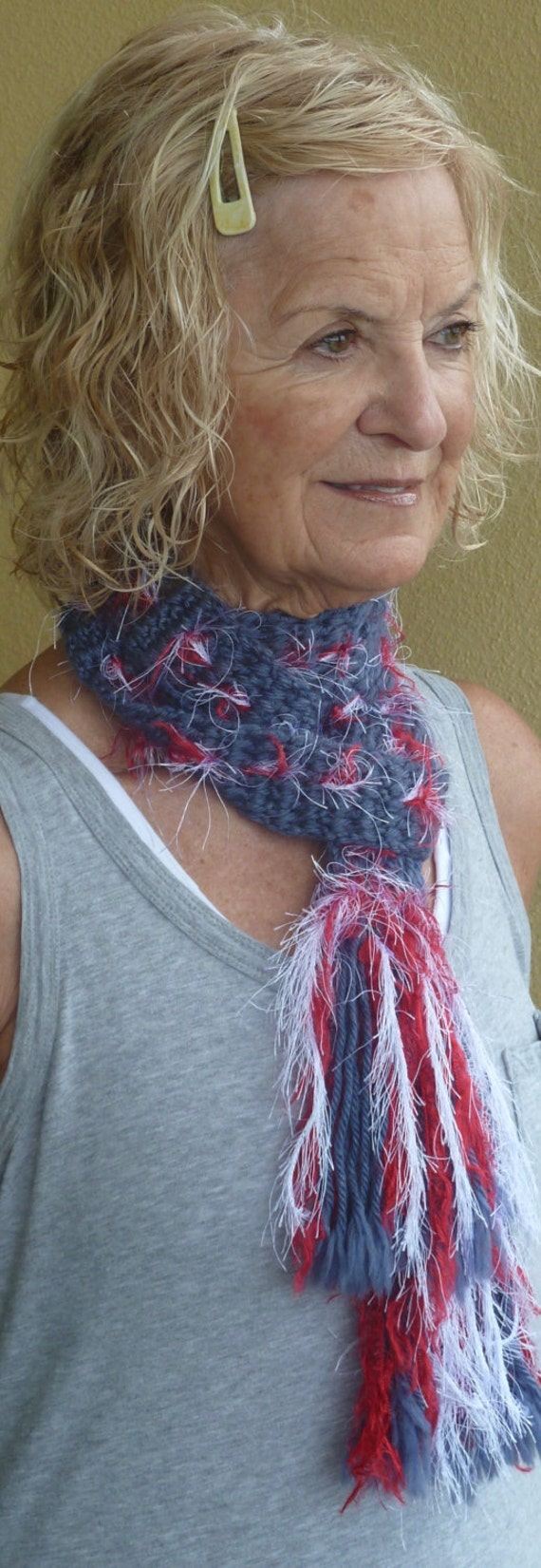 Patriotic Crochet Scarf / Unique Winter Women Accessories / Red White and Blue Scarf