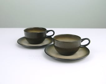 Vintage Set of 2 Heath Ceramics Sand and Sea Coupe Cups and Saucers