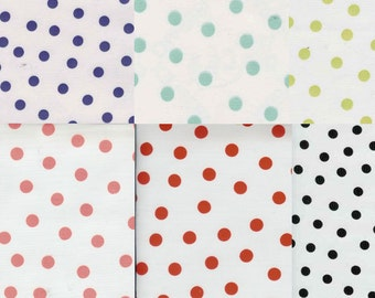 Colorful Polka Dots on White Oilcloth, Yardage