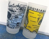 Vintage Souvenir State Glass, Kentucky, Louisiana, Minnesota, Drinking Glass