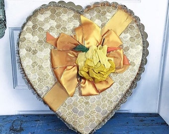 Vintage Valentine Heart Candy Box