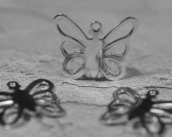 Silver plated butterfly drops, 20x15mm, #472