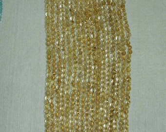 Gold Rutilated, Rutilated Quartz, Smooth Bead, Gold Bead, Natural Stone, Semi Precious, Gemstone Bead, Strand, 5mm