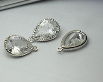 2 pcs cubic zirconia pear drop 13mm x 20mm zirconia drop