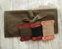 Vintage French Sewing Kit WWII Military Issue 1940s Olive Drab Army Pouch Old Thread Cards Gift for Men Women Children Kids Girls Boy Scouts