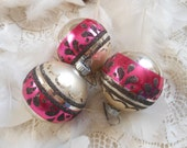 12 Pink Shiny Brite Vintage Ornaments Silver Mica by Quilted Nest