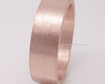 6mm Tube ring- Rose Gold Plated - Over 925 Sterling Silver - Engravable wedding anniversary mens womens flat tube ring - Flat wedding band