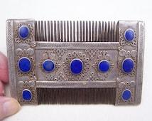 Vintage Turkmenistan hair comb silver lapis lazuli dressing comb grooming comb vanity comb