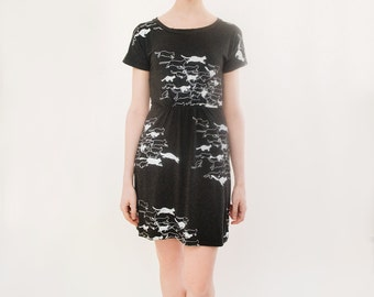 Grey and White Cat Print Short Sleeved Dress