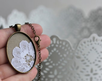 Oval Pendant, Unique Jewelry, Beige Lace Necklace for Mom, Women, Anniversary Gift, Wedding Boho Flower Lace Pendant, Long, Layering Jewelry