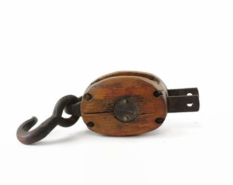 Vintage Wood Pulley, Small Antique Pulley, Block and Tackle Pulley, Rustic Home Decor