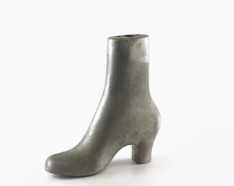 Vintage Industrial Boot Mold, Factory Mold, Aluminum, High Heel Rubber Boot, Rain Boot Mold, Granny Boot