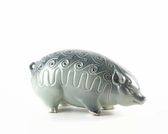 Vintage Bevan Kilns Pig, Hors D'Oeuvres Server, Mid Century Pottery, Toothpick Holder, California Pottery