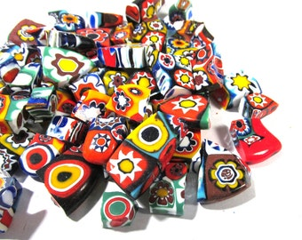 Murano Millefiori Glass Pieces VINTAGE Scrap (3 oz) Venetian Glass MILLEFIORI Chunks Fusing Mosaic Supplies Millefiori Glass Chunks (D244)