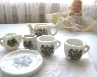 Vintage Toy Tea Set China Tea Set Miniature Tea Set Doll House Decor Porcelain Tea Set Child's Tea Set from AllieEtCie