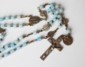 french blue rosary vintage rosary from Lourdes