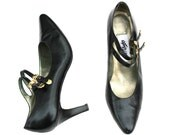 Vintage Attitudes Black/Gold Soft Leather belted Classic Dress Heels Shoes Sz 8