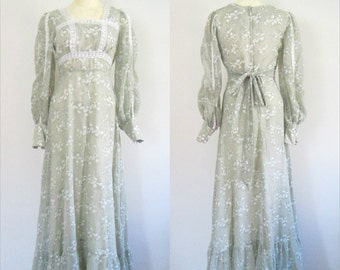 Gunne Sax Maxi Dress Size 13 Vintage 1970s Boho Hippie Bride