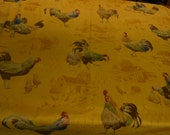 """Handmade cotton print tablecloth chickens, rooster, motif on a bright yellow background 53"""" square"""
