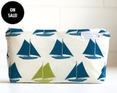 SALE. wet bag. small. nautical. sail boats. organic cotton. teal and apple