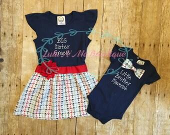 Sibling set, big sister little brother set, big sister dress, little brother oneise
