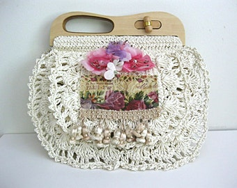Boho chic purse, Parisian bridal purse, faerie handbag, mori girl purse, French theme purse, bridal bag, shabby chic purse, Lily Whitepad