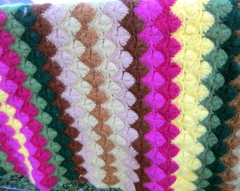 Vintage wool blanket afghan throw vibrant colors pink green