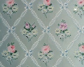 Vintage Wallpaper - Flower Bouquets of Pink Lavender Yellow on Blue Green Shimmer 1950's  - 1 Yard